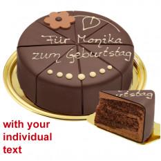 Delizioso dessert Torta al cioccolato, può essere etichettata