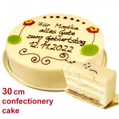 Grande torta di marzapane di Lübecker con testo individuale