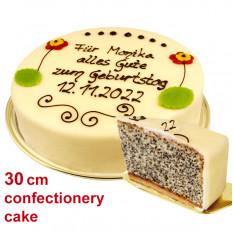 Grande torta di semi di papavero da pasticceria, può essere etichettata