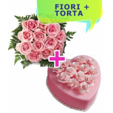 Invia la torta di cuore e le rose domestiche (piccole)