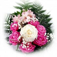 Nuvola Bianca: rose bianche e rose fucsia