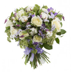 Funeral Bouquet Of White Roses And Purple Flowers (Refined)